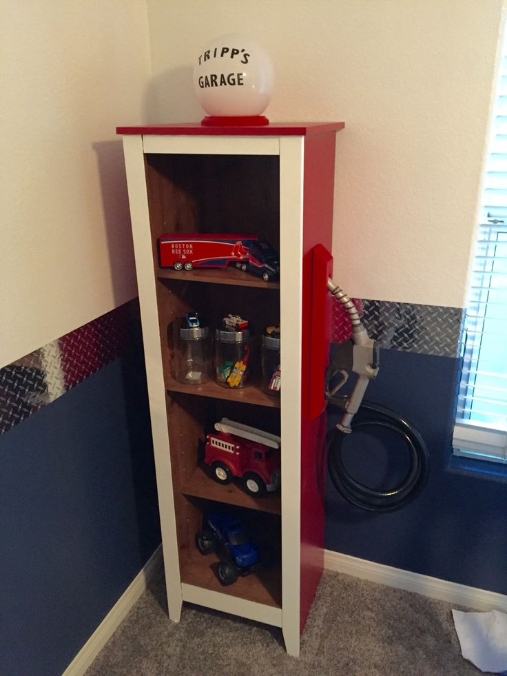 Bookshelf gas pump with real gas pump handle for car themed room. Toddler room.  Cars.  Gas station