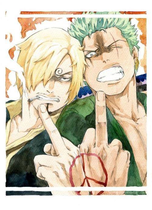 Zoro and Sanji! Peace :3 Hahaha like it!!