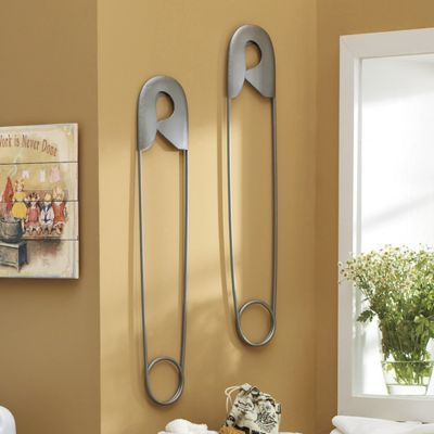 Oversized Safety Pin Wall Decor Laundry Room Makeover