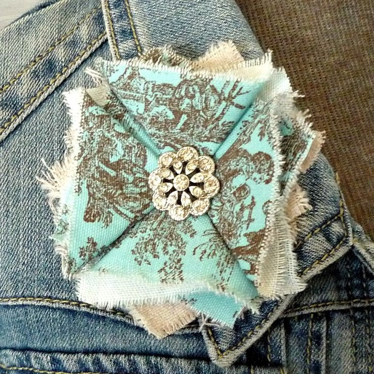 Blue Fabric Flower Pin - French Blue and Brown - Aqua - Shabby Chic - Rhinestone - Tattered Flower Pin by greenwillowpond on Etsy