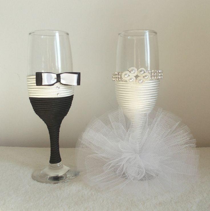 Bride and groom glasses ( wedding glas )