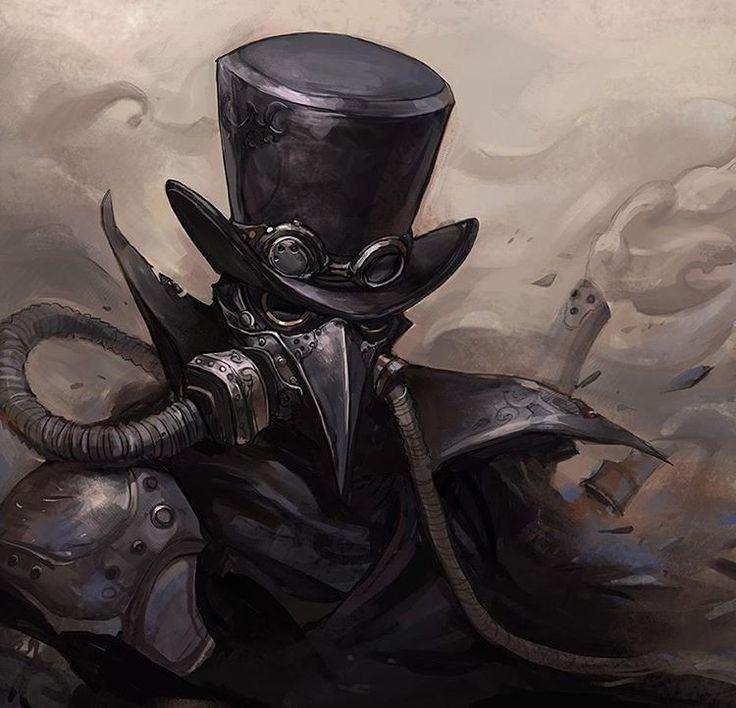 """steampunk-art: """" steampunktendencies: """" Illustration by Chocofing R #steampunktendencies #steampunk #illustration #plague #plaguemask #plaguedoctor #dark #gothic #steamgoth  """" Steampunk Art """""""