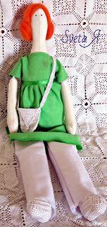 ΥΠΕΡΟΧΕΣ ΔΗΜΙΟΥΡΓΙΕΣ: Кукла в стиле тильда - Рыжая в зеленой тунике