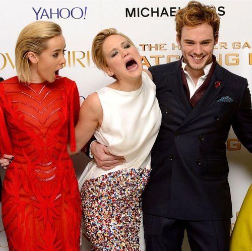 Jennifer Lawrence, jena malone, and sam claflin image