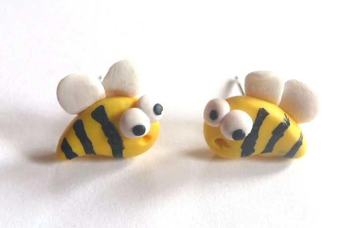 Bees earrings - polymer clay