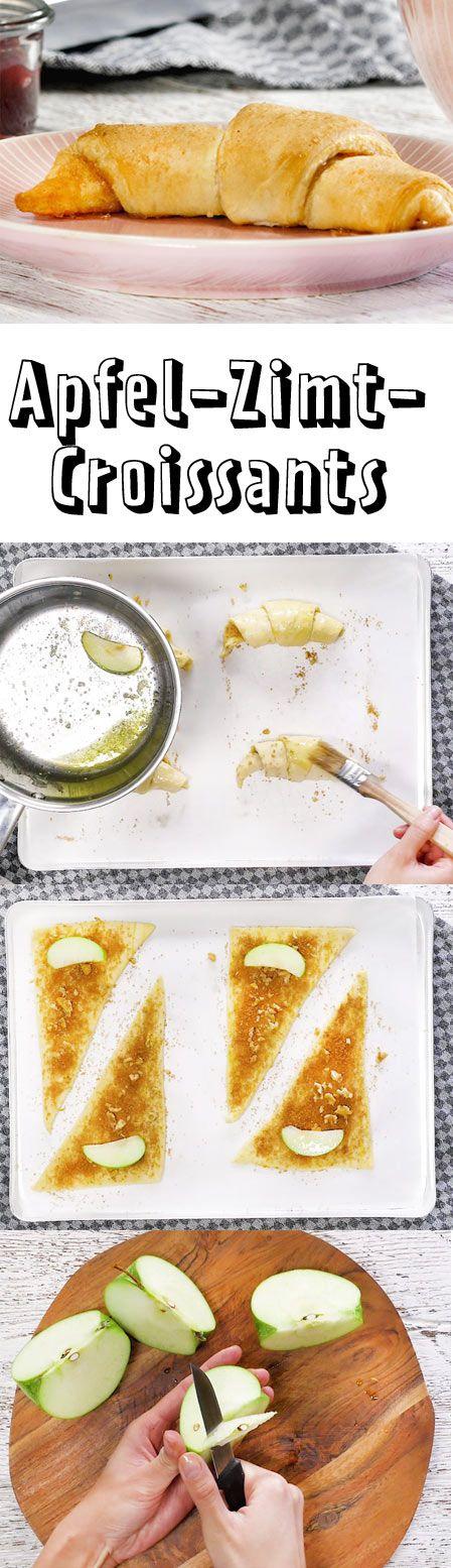 Aus fertigem Croissant-Teig aus dem Supermarkt kannst du in Windeseile ein fruchtig-süßes Apfel-Zimt-Croissant selber machen. Das Rezept gibt's hier!
