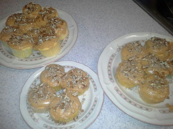 Homemade Caramel Cupcakes w/Pecans on Top