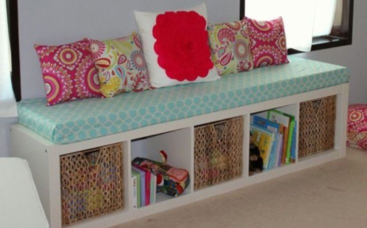 Bookcase bench and storage