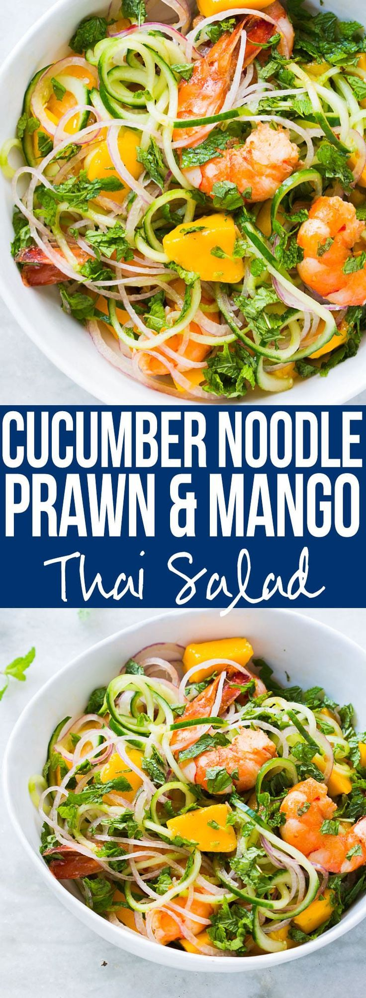 Super fresh cucumber noodle prawn and mango salad which is also gluten free. All the thai flavours of Bangkok in this hearty spiralizer salad recipe. I'm totally making this salad this summer! Easily made vegetarian and vegan too!