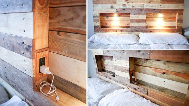 20 tutos pour fabriquer une t te de lit avec des palettes photos lit palette and ps - Fabriquer tete de lit palette ...