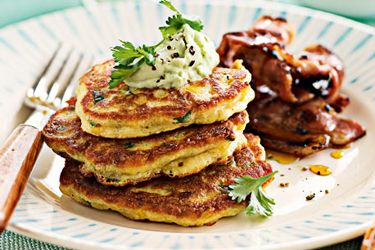 Sweet corn fritters with maple bacon and avocado cream