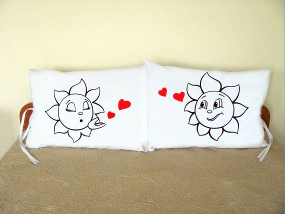 Suns Kiss Couple Pillow Cases Hand Drawn Cotton by HandmadeNel