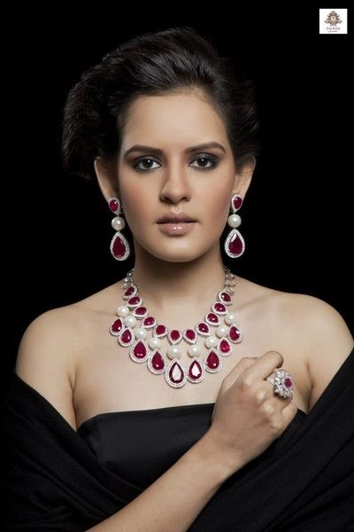 http://rubies.work/0653-ruby-rings/ rubies and diamond engagement set with large drop rubies, elegant, western, reception necklace for bride, bridal diamond set