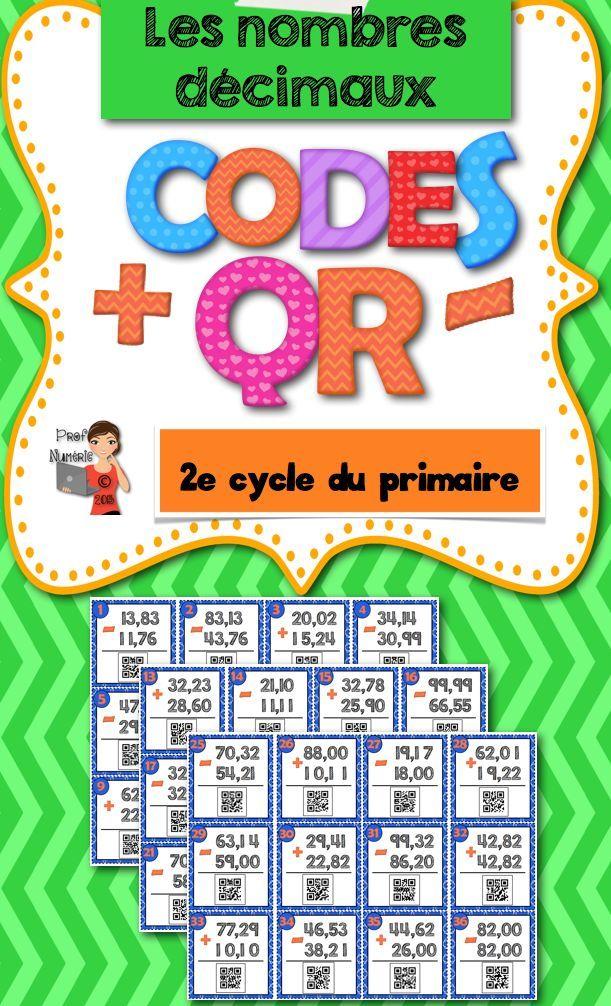 Codes QR et les nombres décimaux en cartes-tâches. #qrcodes #FrenchTech