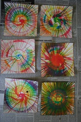 spin art...i've used the salad spinner idea. so fun! - Note from me: salad spinner and spin art - who knew??Must try this