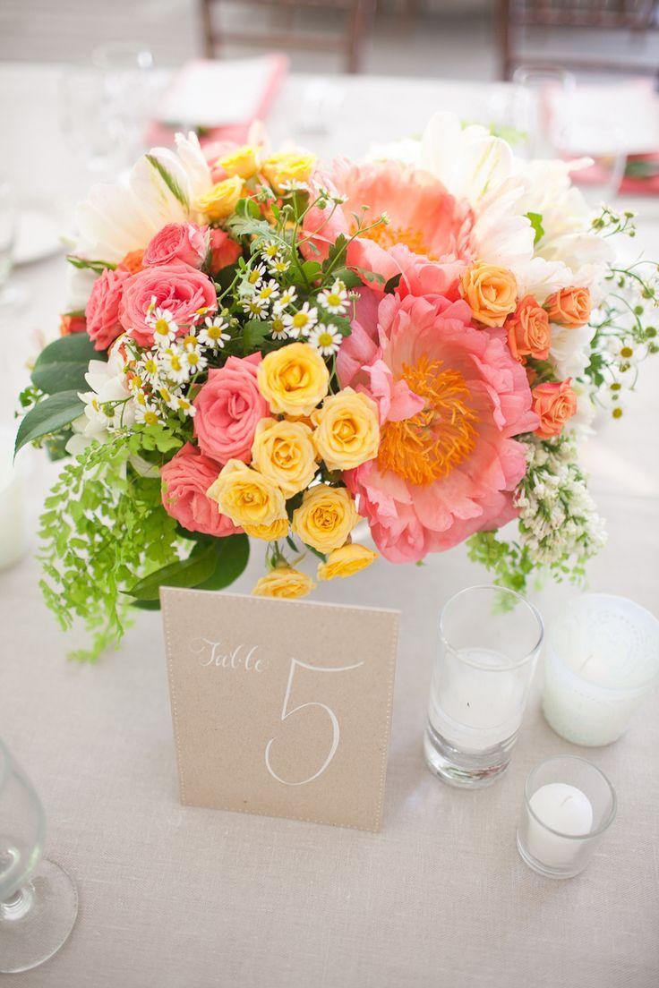 peach wedding  flower centerpieces