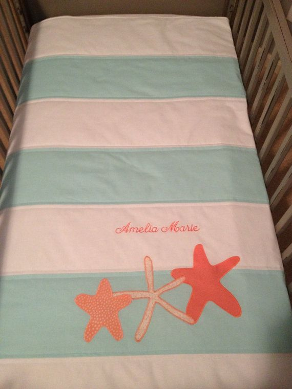 Hey, I found this really awesome Etsy listing at https://www.etsy.com/listing/152438466/striped-nursery-quilt-in-aquawhite-with