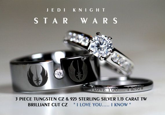 STAR WARS Tungsten and 925 Sterling Silver 1.15 Carat CZ Wedding Ring Set, 8mm Star Wars Galactic Imperial Empire, Rebel Alliance, Jedi