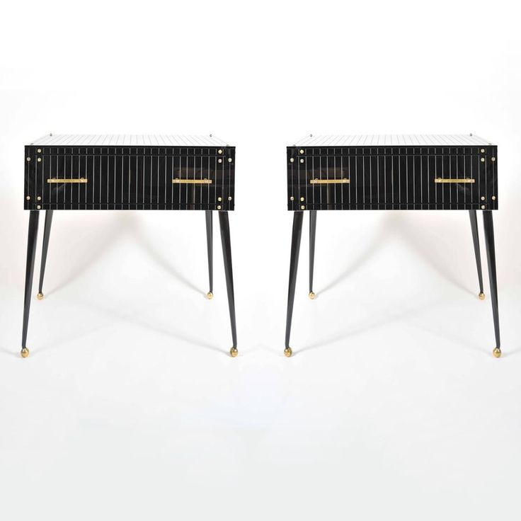 1970's Italian Black Glass Side Tables