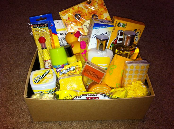 """""""Box of sunshine"""" my best friend made this for my birthday gift! Great idea! Get all yellow things Fill fun box and send as a birthday gift, get well wishes, or a just because gift! Love it!"""