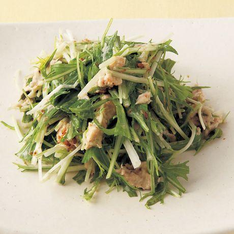 水菜とツナのマヨあえ」のレシピです。