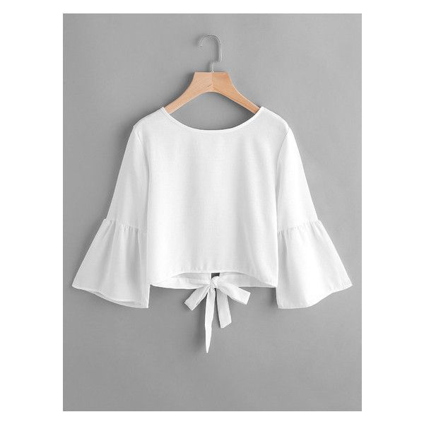 Flute Sleeve Open Back Bow Tie Blouse (650 RUB) ❤ liked on Polyvore featuring tops, blouses, sleeve blouse, white blouse, sleeve top, white top and open-back tops
