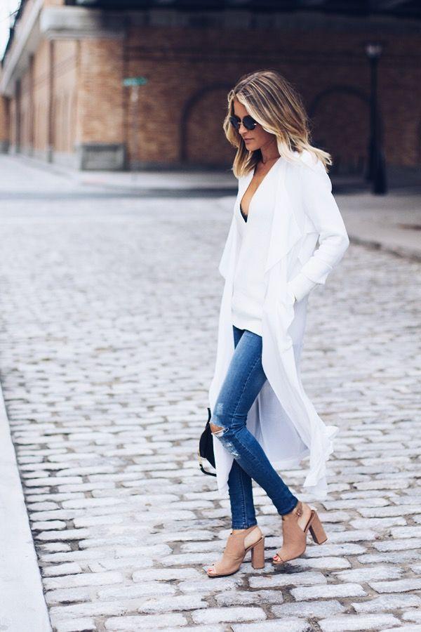 long white kimono, nude steve madden sandals