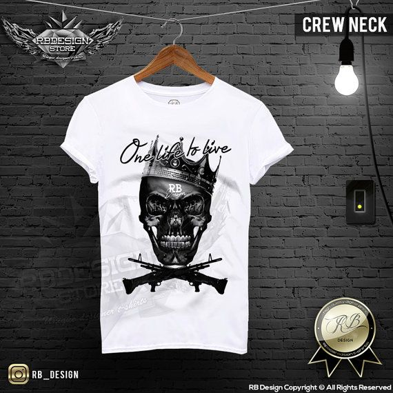 Men's White T-shirt Scary Skull Machine Guns One Life To Live RB Design Black Crown Stretchy Cotton Tank Top MD458