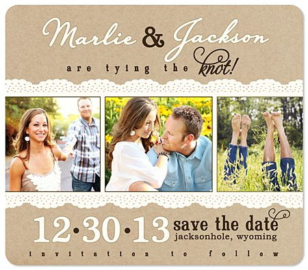 Save the Date Wedding Magnets  (might be a bit tacky, but so handy as they end up on the fridge anyway!)
