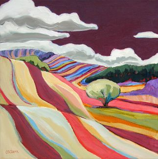 """Contemporary Landscape """"Striped Hills"""" painting by Carolee Clark"""