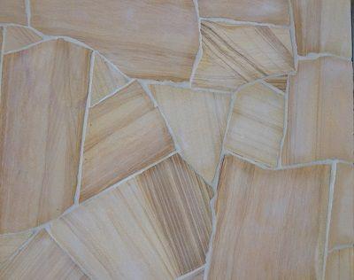 Teak Sandstone Crazy Paving, Golden Teak Sandstone Flagstone