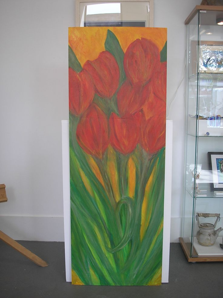 Large tulip painting on Hardboard - Ideal to brighten up the patio