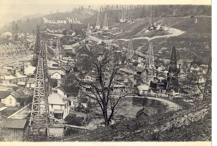 A field of derricks amid the town of Wallace, West Virginia, circa 1910. The boom era for these wells was from the late 1800s until about 1930. This part of northern West Virginia was loaded with them. None of the wells pictured are active now, but deep wells are still being drilled in Wetzel County.