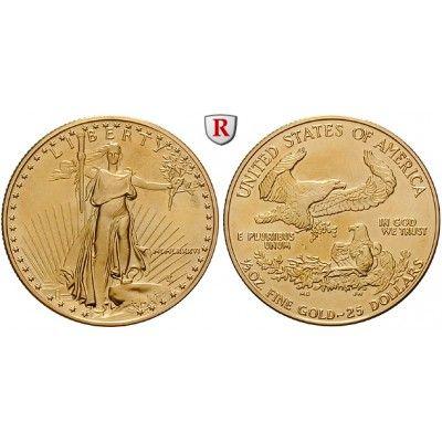 USA, 25 Dollars seit 1986, 15,55 g fein, st: 25 Dollars 15,55 g fein, seit 1986. Eagle - 1/2 Unze. GOLD, stempelfrisch, Tagespreis… #coins