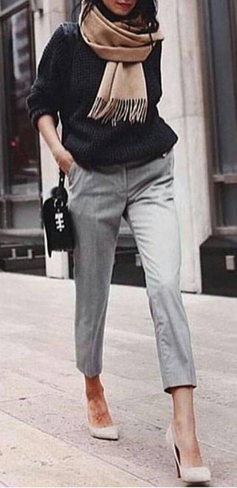 Model Find This Pin And More On IGNITE Your Style  Ladies  Grey Slacks Is It Weird That I Search Pinter Estate Every Morning To Help Me Find An Outfit? Really Like This Outfit I Think I Like The Ruffle Blouse A Lot, And I Usually Just Wear Some Pants
