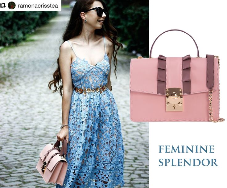The delicate ruffles of your dresses or luxury accessories always offer you an amazing feminine air, making you glow with a certain charm that catches all eyes. Wear with confidence leather bags in sweet pastels with ruffles and shine your way through this summer.