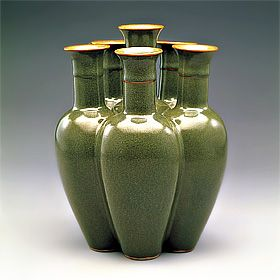 Six Conjoined Vases in Tea Dust Glaze, Ch'ien-lung Reign (1736-1795), Ch'ing Dynasty (1644-1911), ceramics, Chinese, artist unknown