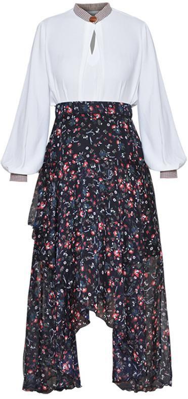Keyhole Chiffon Blouse with Asymmetrical Floral Print Skirt