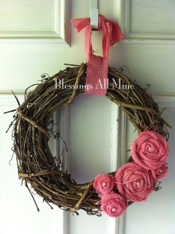 14 inch Grapevine Wreath Burlap Pink Flowers by BlessingsAllMine