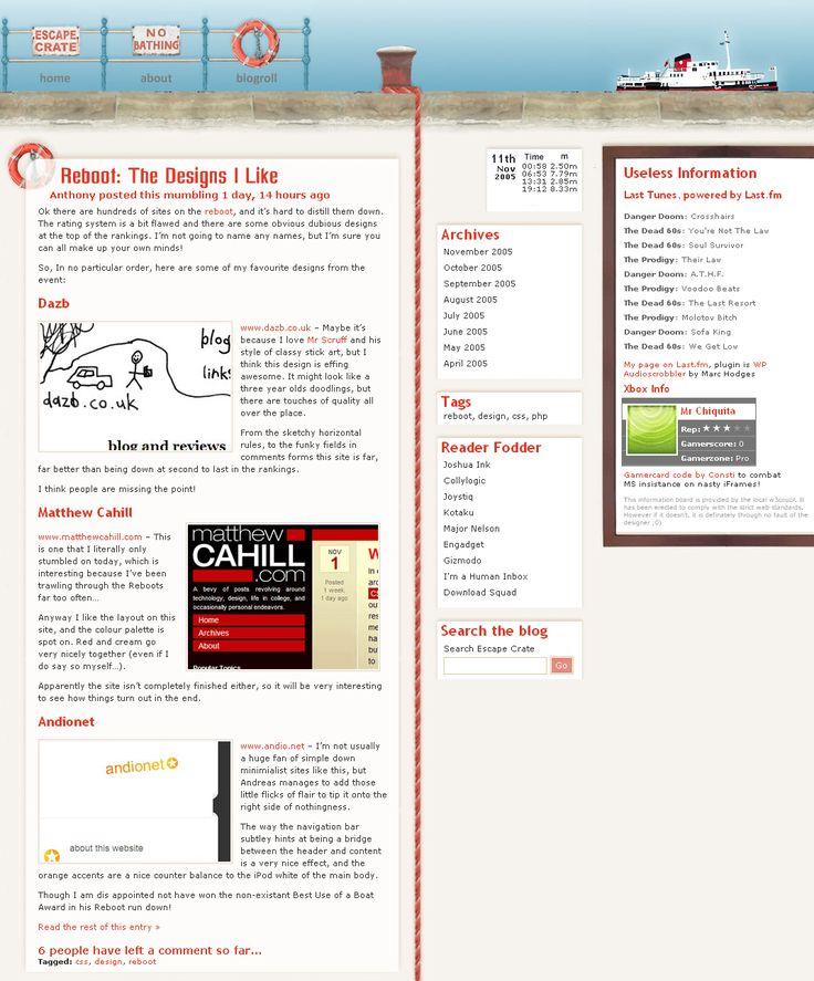 Escape Crate website in 2005