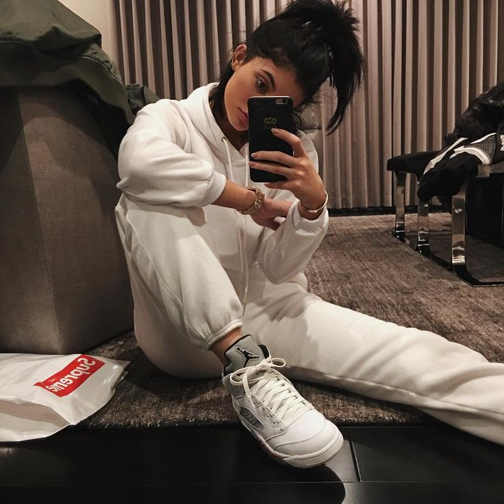 Kylie Jenner wearing the 'White' Supreme x Air Jordan 5