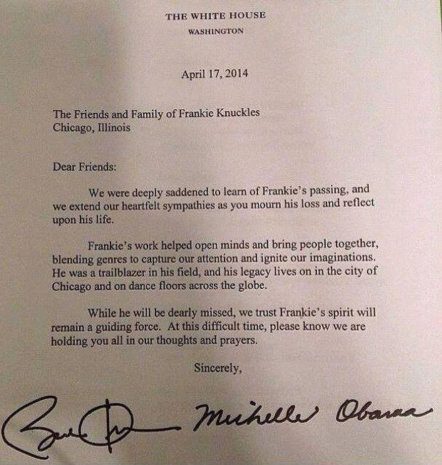 La lettre hommage de Barack Obama à la famille et aux amis de Frankie Knuckles