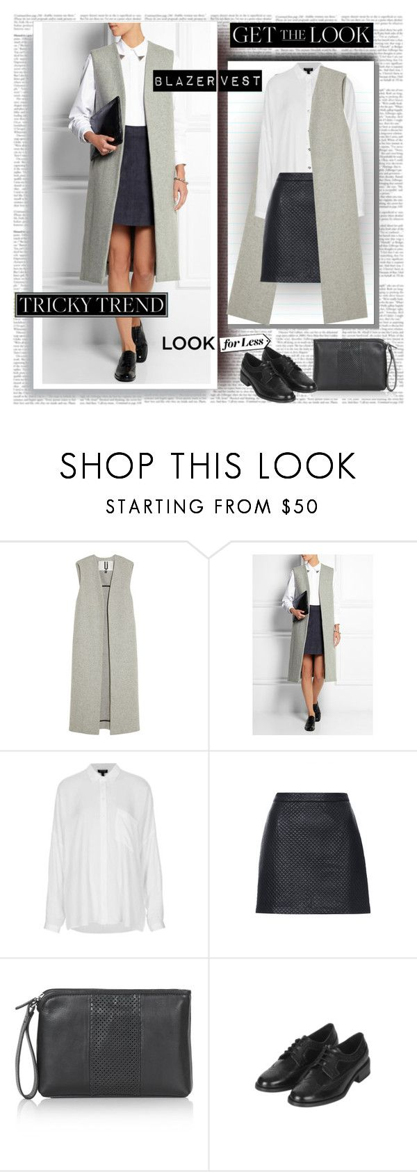 """Blazer Vest Tricky Trend"" by stylepersonal ❤ liked on Polyvore featuring Topshop Unique, Topshop and blazervest"