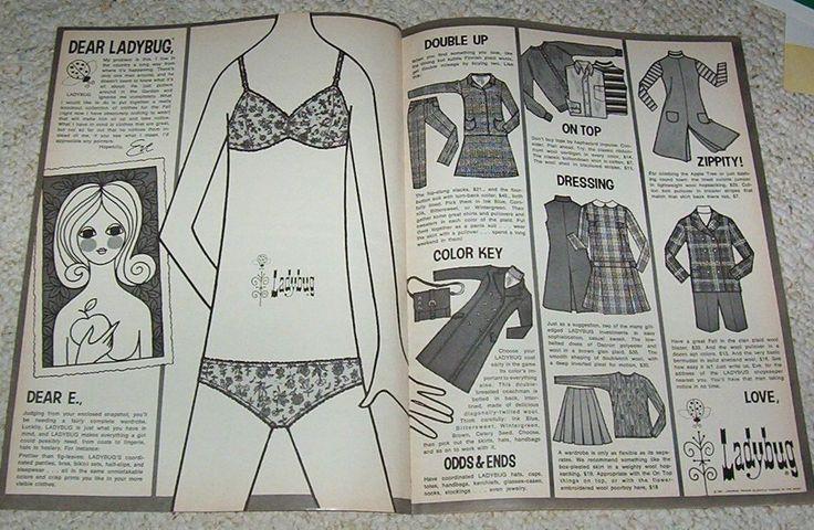 1967 ad page - Ladybug fashion panties bra clothing cute Eve art vintage ADVERT #Ladybugfashions