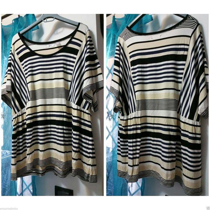 Tunica maglietta lunga donna crema nero beige 56 58 60 62 64 taglie forti xxl