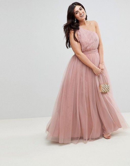 ef35b2fb28 CURVE PREMIUM Tulle One Shoulder Maxi Dress