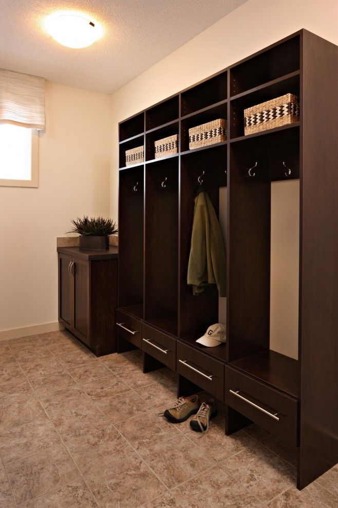 Chocolate Wood Solutions  4 Sections of Hanging with Hooks  Pull Out Mitten Drawer Simple Spaces