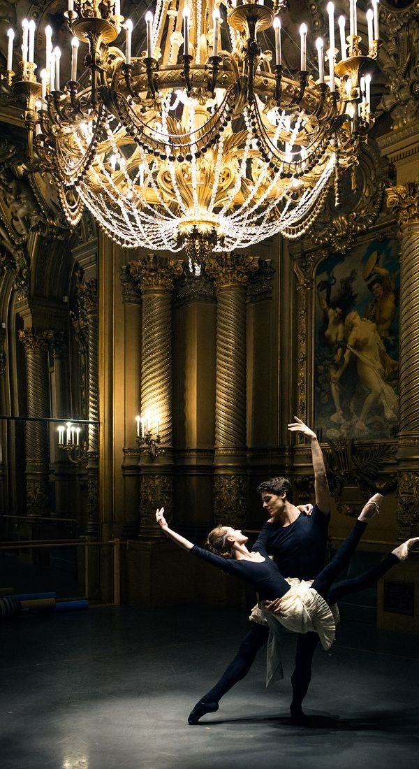 Dorothée Gilbert & Hugo Marchand in the Foyer of the Opera Garnier | Photo by James Bort...