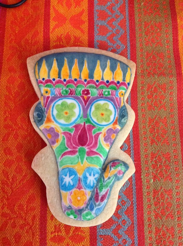 Indian elephant painted icing cookie