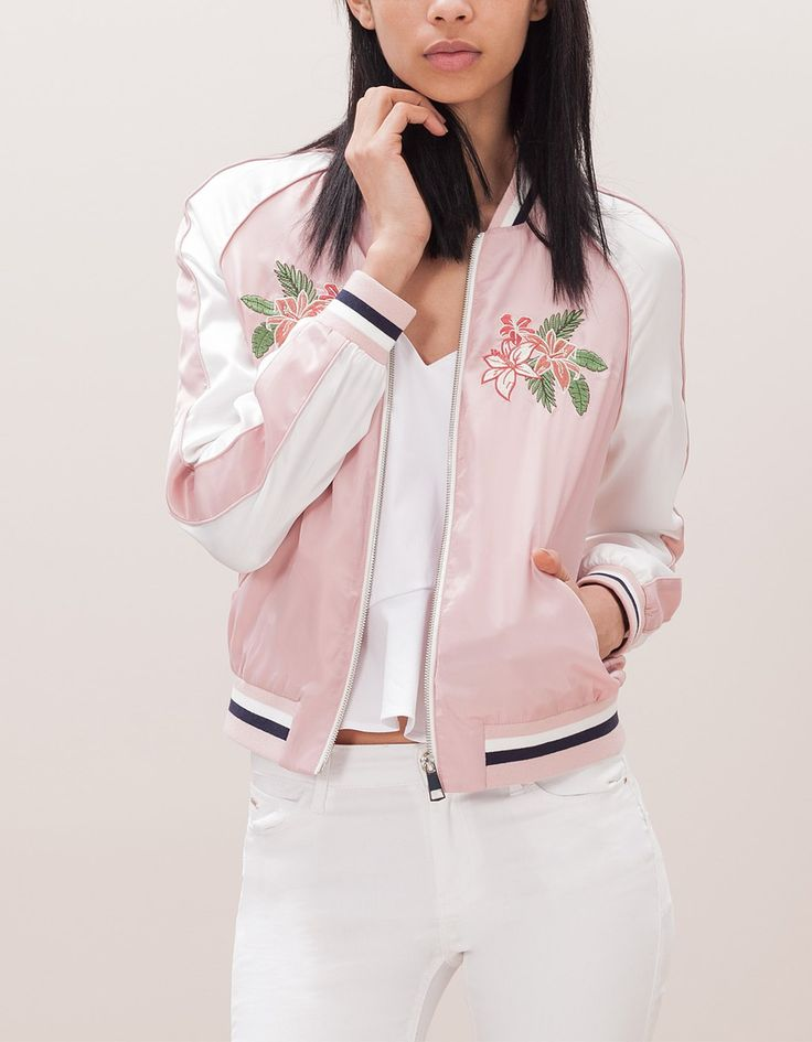 Satin bomber jacket with embroidery detail
